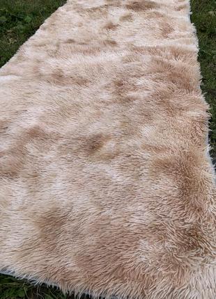 Прикроватный коврик травка с ворсом 90х200 см персиковый