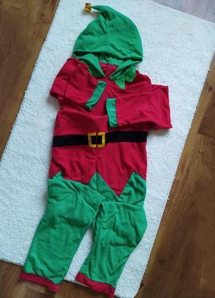 Кигуруми , новогодний костюм эльф , пижама, слип