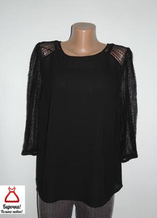 Трендовая черная шифоновая блуза с кружевным рукавом tu p.l/xl (14)