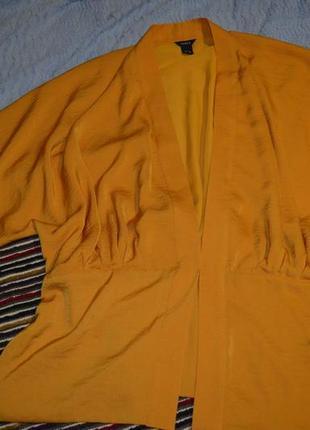 Шикарна накидка кімоно гірчичного кольору великий розмір
