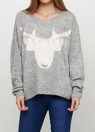 Вязанный шерстяной свитер h&m с оленем