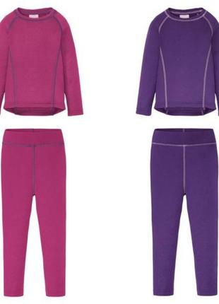 Термобелье комплект реглан и легинсы розовое, фиолетовое германия для девочки рост 86-128 см