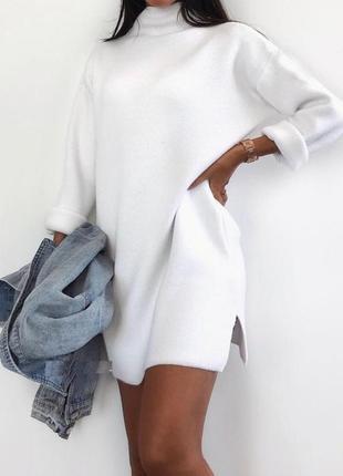 Теплое свободное белое мини платье турецкая трехнить на флисе
