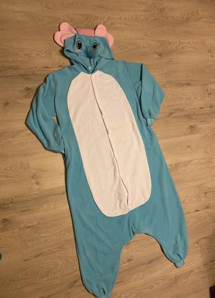 Клевая пижама кигуруми голубой слон