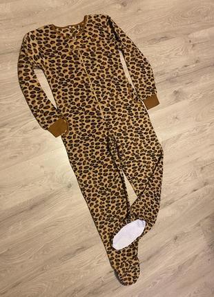 Клевая пижама кигуруми флисовая леопардовая с ногами