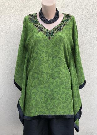 Шёлковая блуза реглан,туника с вышивкой,этно бохо стиль,индия,