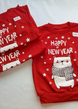 Новогодний реглан новогодний свитер с мишкой красная кофта на новый год