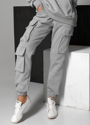 Женские серые штаны на флисе с карманами на бедрах (4111 jdnn)