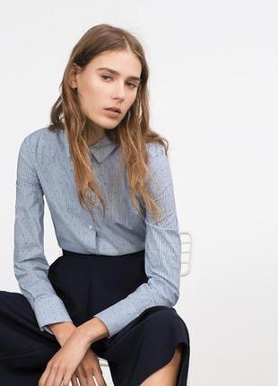 Рубашка в мелкую синею полоску длинный рукав хлопок размер 10-12 zara basic