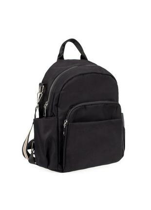 Женский черный рюкзак-трансформер тканевый нейлон spike с карманами