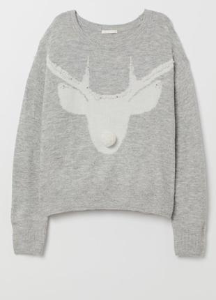 Новогодний свитер, джемпер с оленем, мягкий и пушистый