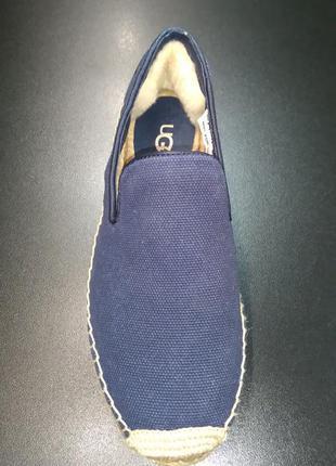 Эспадрильи, слиперы из натурального текстиля и кожи ugg синие, р. 37