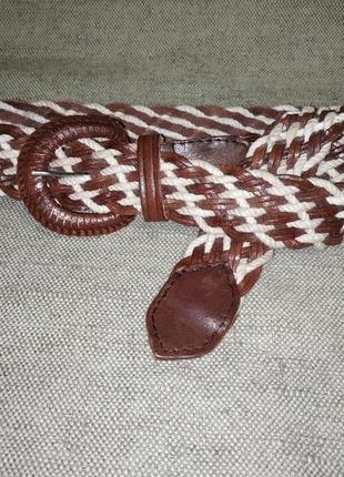 Трендовый плетеный ремень пояс. натуральная кожа, текстиль