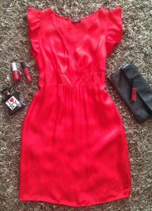 Яркое летнее платье с воланами и бантом на поясе от бренда f&f. sale –50%