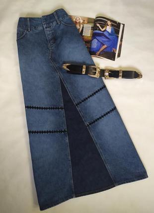Мега крутая длинная джинсовая юбка !