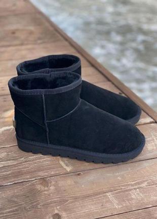 Низкие короткие угги замш натуральные ботинки черные