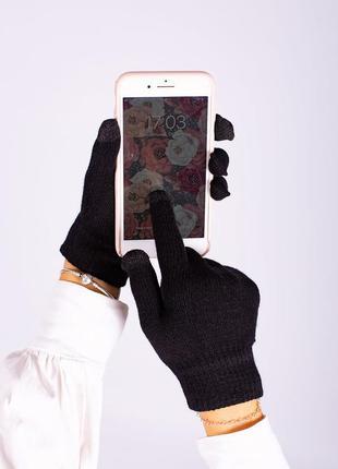 Шерстяные сенсорные перчатки черного цвета without