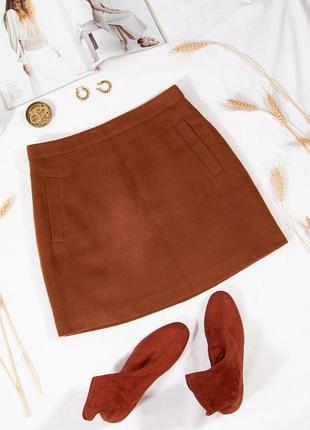Коричневая юбка трапеция, зимняя юбка-трапеция, демисезонная юбка стильная, спідниця