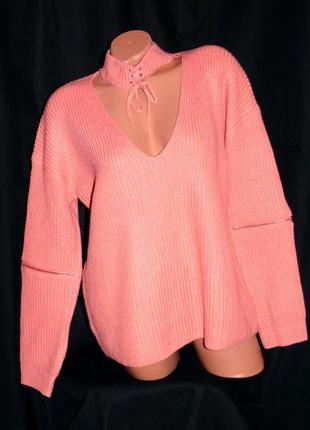 Forever шикарный свитер крупной вязки персиковый - m - l - xl - xxl