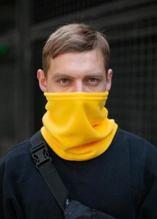 Теплый флисовый бафф с затяжкой желтого цвета without
