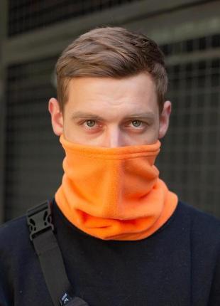 Теплый флисовый бафф с затяжкой оранжевого цвета without