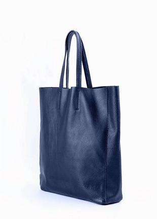 Синяя кожаная сумка для шоппера