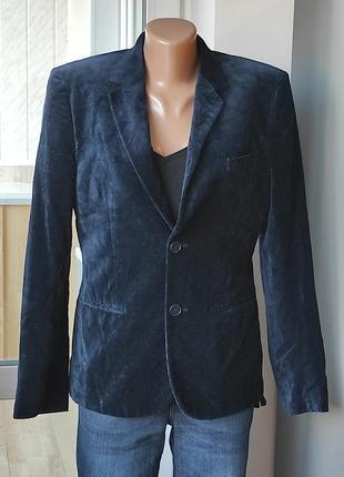 H&m. пиджак велюровый синий на подкладке и двух пуговицах, вискоза и коттон.