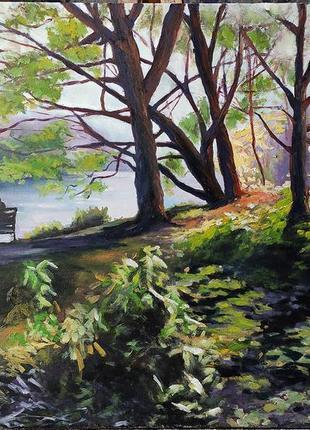 Картина маслом пейзаж живопись лавочка в парке