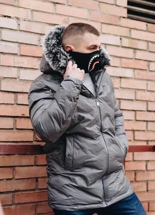 Стильная зимняя серая куртка. производитель турция.