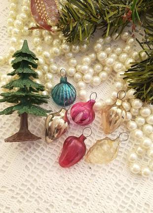 Набор елочных игрушек малюток ссср советские маленькие стеклянные