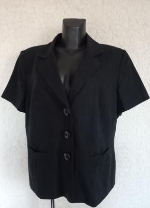Стильный черный пиджак из льна и вискозы