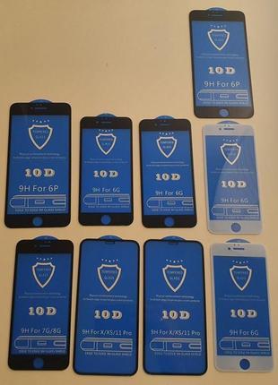Защитное стекло 10d на iphone 6 6s 6+ 6s+ 7 7+ 8 8+ x xr 11 xs max 11 pro max для айфон 5d