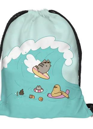 Рюкзак мешок сумка на шнурке для сменной обуви для спортивной формы пушин серфер