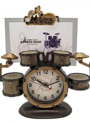 Фоторамка  с часами барабаны