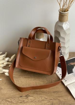 Вместительная сумка с карманом терракотового цвета lm4000-3