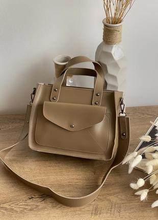 Вместительная сумка с карманом цвета мокко lm4000-7