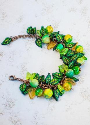 Браслет зелён яблоко лист полимерн ручн подарок бижутер необычн украш фрукт