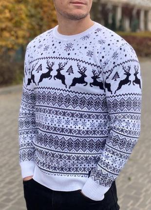 Новогодний свитер, свитер с оленями, новорічний светр з оленями