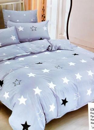 Комплект постельного белья евро размер+4 наволочки, постельное бельё со звёздами 220×240
