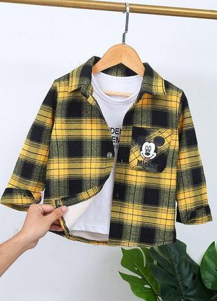 Тёплая байковая рубашка на плюше
