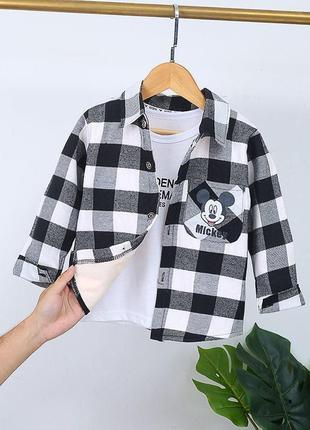 Тёплые байковые рубашки на плюше