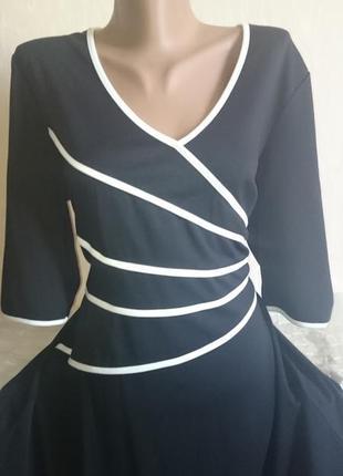 Элегантное платье, брендовое glockler, черно-белая классика, размер 50/52/54