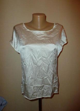 Белая (молочная) шелковая блуза hallhuber р s