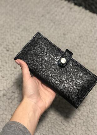 Кожаный универсальный кошелёк чёрного цвета