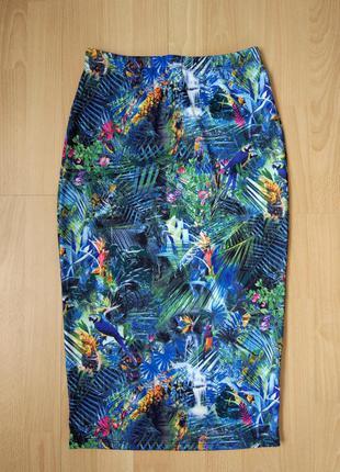Обтягивающая юбка с тропическим принтом