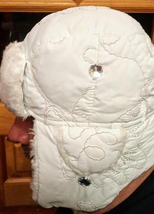 Стильная болоньевая женская фирменная стеганая шапка  ушанка
