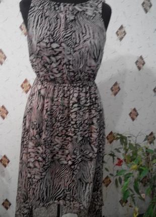 Шифоновое платье с ассиметричным низом , открытой спинкой