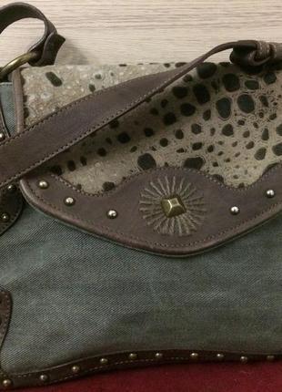 Yurena by estro стильная сумочка джинсовка , мех и натуральная кожа