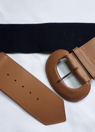 Кожаный итальянский широкий комбинированный пояс ремень