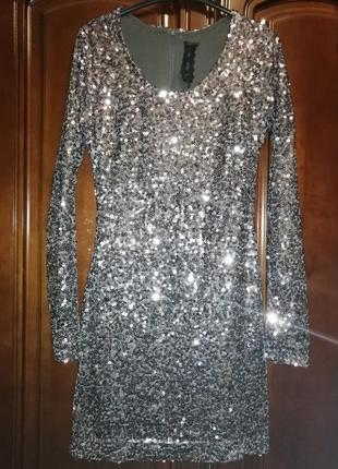 Платье блестящее в пайетки, р с